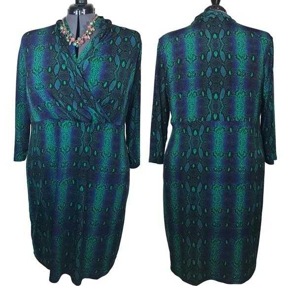 Liz Claiborne Dresses   Plus Size Snake Print Long Sleeve Faux Wrap ...